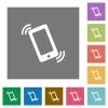 Ringing phone square flat icons - Ringing phone flat icon set on color square background.