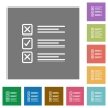 Questionnaire square flat icons - Questionnaire flat icon set on color square background.