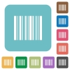 Flat barcode icons - Flat barcode icons on rounded square color backgrounds.