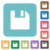 Flat save icons - Flat save icons on rounded square color backgrounds.