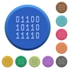 Embossed binary code buttons - Set of round color embossed binary code buttons