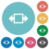Flat width tool icons - Flat width tool icon set on round color background.