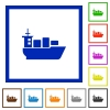 Sea transport framed flat icons - Set of color square framed Sea transport flat icons