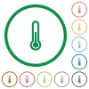 Thermometer outlined flat icons - Set of thermometer color round outlined flat icons on white background