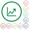 Set of Line graph color round outlined flat icons on white background - Line graph outlined flat icons