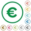 Euro sign outlined flat icons - Set of Euro sign color round outlined flat icons on white background
