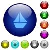 Color sailboat glass buttons - Set of color sailboat glass web buttons.