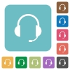 Flat headset icons - Flat headset icons on rounded square color backgrounds.