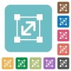 Flat resize element icons - Flat resize element icons on rounded square color backgrounds.
