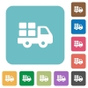 Flat transport icons - Flat transport icons on rounded square color backgrounds.