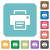 Flat printer icons - Flat printer icons on rounded square color backgrounds.