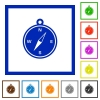 Compass framed flat icons - Set of color square framed Compass flat icons