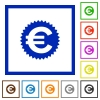 Euro sticker framed flat icons - Set of color square framed Euro sticker flat icons