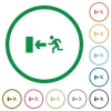 Exit outlined flat icons - Set of exit color round outlined flat icons on white background