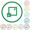 Maximize window outlined flat icons - Set of Maximize window color round outlined flat icons on white background