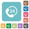 Flat 24 hour services icons - Flat 24 hour services icons on rounded square color backgrounds.