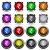 Indian Rupee sign glossy button set - Set of Indian Rupee sign glossy web buttons. Arranged layer structure.