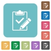 Flat fill out checklist icons - Flat fill out checklist icons on rounded square color backgrounds.