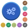 Embossed gears buttons - Set of round color embossed gears buttons