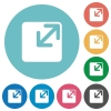 Flat resize window icons - Flat resize window icon set on round color background.