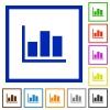 Statistics framed flat icons - Set of color square framed Statistics flat icons
