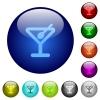 Color cocktail glass buttons - Set of color cocktail glass web buttons.
