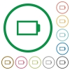Set of Empty battery color round outlined flat icons on white background - Empty battery outlined flat icons