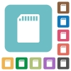 Flat SD memory card icons - Flat SD memory card icons on rounded square color backgrounds.
