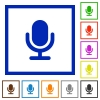 Microphone framed flat icons - Set of color square framed Microphone flat icons