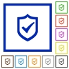 Active shield framed flat icons - Set of color square framed Active shield flat icons