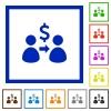 Send dollar framed flat icons - Set of color square framed Send dollar flat icons