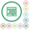 Web layout outlined flat icons - Set of Web layout color round outlined flat icons on white background