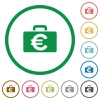 Euro bag outlined flat icons - Set of Euro bag color round outlined flat icons on white background