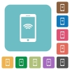 Flat cellphone with wireless symbol icons - Flat cellphone with wireless symbol icons on rounded square color backgrounds.