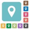 Flat location pin icons - Flat location pin icons on rounded square color backgrounds.