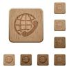 International call wooden buttons - Set of carved wooden International call buttons in 8 variations.