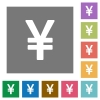 Yen sign square flat icons - Yen sign flat icon set on color square background.