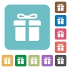 Flat gift box icons - Flat gift box icons on rounded square color backgrounds.