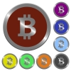 Color bitcoin sign buttons - Set of color glossy coin-like bitcoin sign buttons.