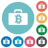 Flat bitcoin bag icons - Flat bitcoin bag icon set on round color background.
