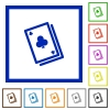 Card game framed flat icons - Set of color square framed Card game flat icons