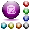 Database export glass sphere buttons - Set of color Database export glass sphere buttons with shadows.