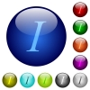 Color italic font type glass buttons - Set of color italic font type glass web buttons.