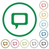 Comment outlined flat icons - Set of Comment color round outlined flat icons on white background