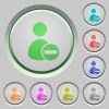 Remove user account push buttons - Set of color Remove user account sunk push buttons.