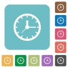 Flat clock icons - Flat clock icons on rounded square color backgrounds.