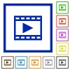 Play movie framed flat icons - Set of color square framed Play movie flat icons