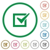 Checked box outlined flat icons - Set of Checked box color round outlined flat icons on white background