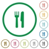Set of Cutlery color round outlined flat icons on white background - Cutlery outlined flat icons