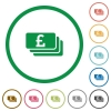 Set of Pound banknotes color round outlined flat icons on white background - Pound banknotes outlined flat icons